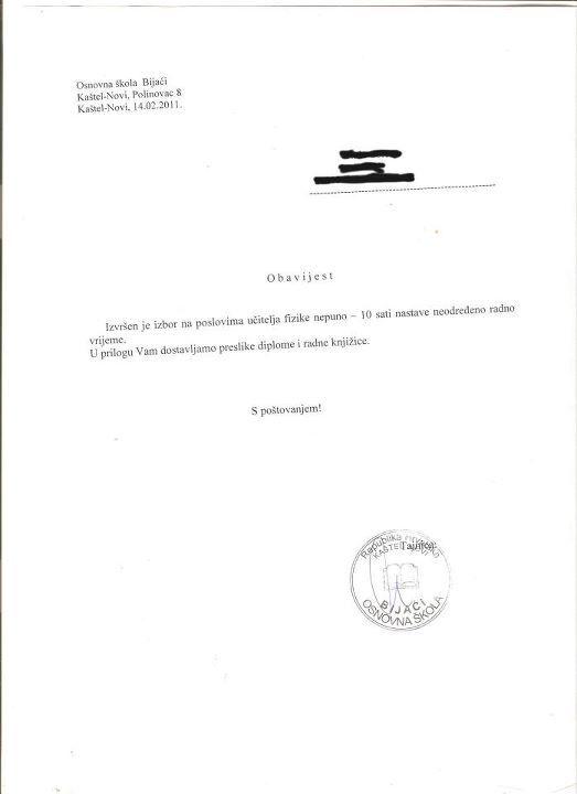 One Response to Nepravilno proveden natječaj u OŠ Bijaći, Kaštel